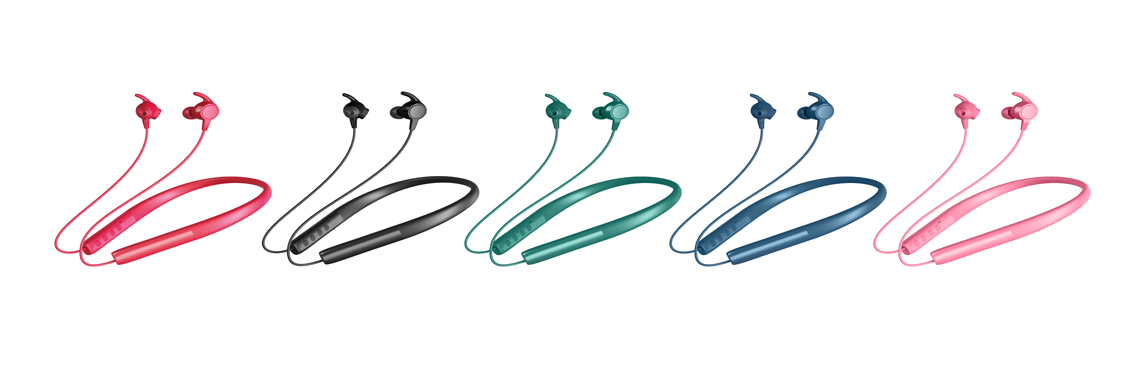 4 different color of neckband earphone with heart rate monitor